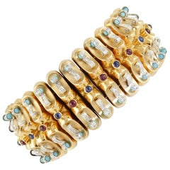 Rubies Blue Sapphires Turquoise Diamonds Yellow Gold Band Bracelet