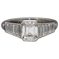 Hancocks 1.40 Carat Emerald-Cut Diamond Ring with Diamond Set Shoulders