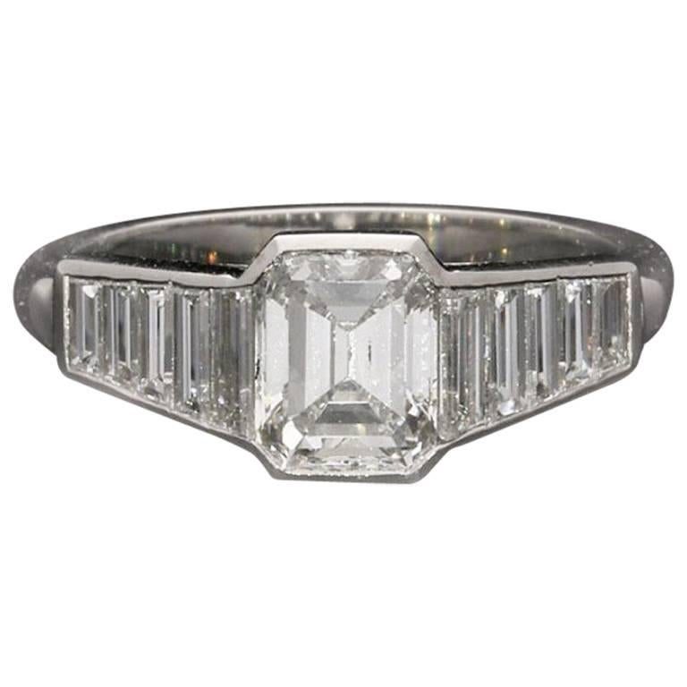 Hancocks 1.40 Carat Emerald-Cut Diamond Ring with Diamond Set Shoulders