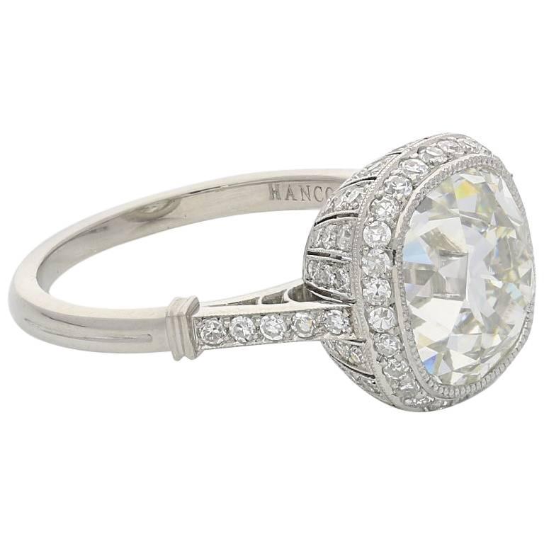 Hancocks 4.51 Carat Old Mine Brilliant Cut Diamond and Platinum Ring