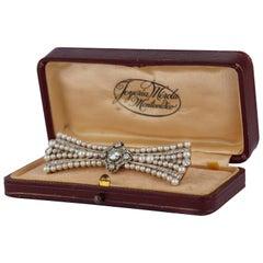 Edwardian Pearl and Diamond Platinum Brooch