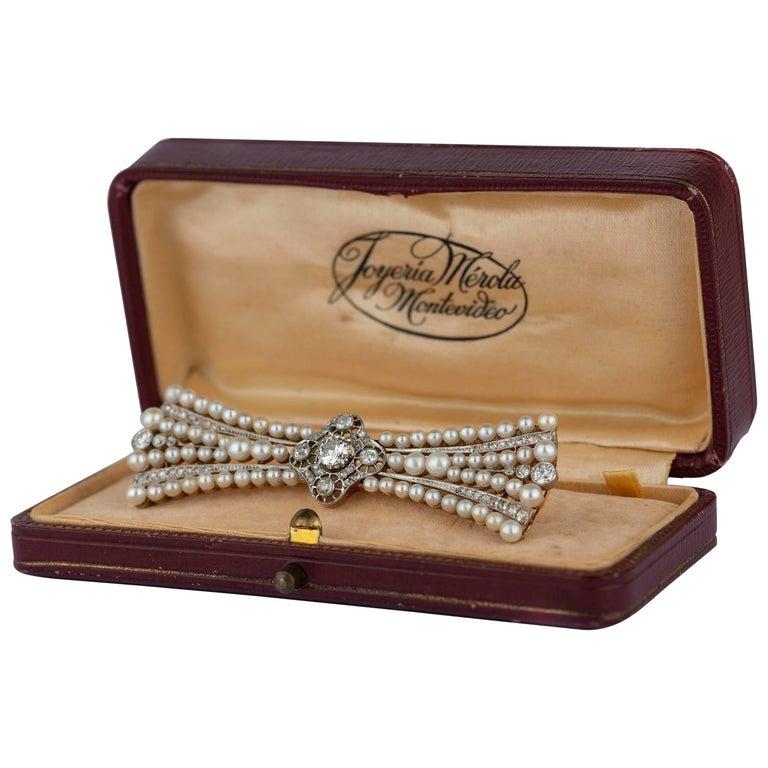 Edwardian Pearl and Diamond Platinum and Diamond Brooch