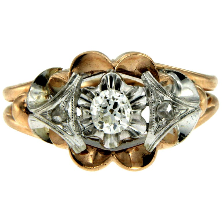 Retro Diamond two-color Gold Ring For Sale