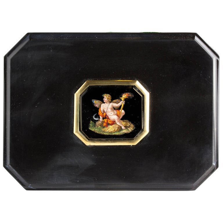 Micromosaic Onyx Paperweight, Signed Barberi, Italy, 1783-1857