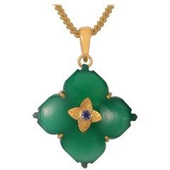 Emma Chapman Green Onyx Iolite Gold Plate Pendant