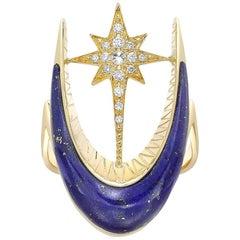 Venyx 18 Karat Gold Diamond Lapis Parrot Star Fish Ring