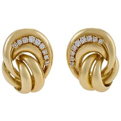 Van Cleef & Arpels Paris 1980s Diamond and Gold Earrings