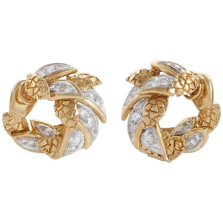 Van Cleef & Arpels Paris 1960s Diamond and Gold Earrings