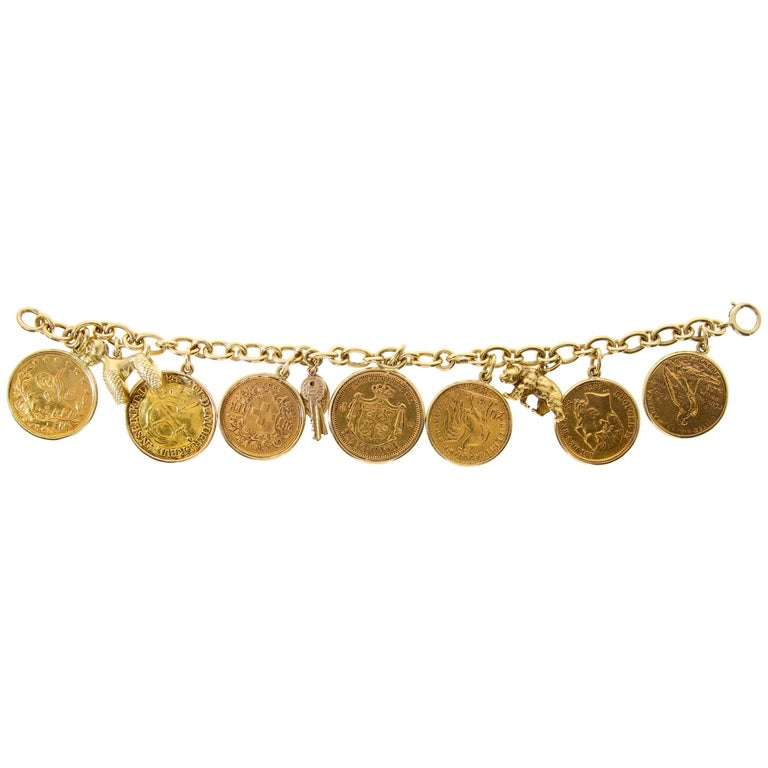 Yellow Gold Coins and Charmes Bracelet, circa 1950