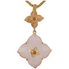 Emma Chapman Rose Quartz Mandarin Garnet Gold Plate Pendant