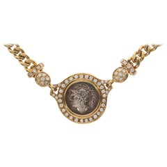 Roman Yellow Gold Coin Chain Necklace with Diamonds, circa 1980