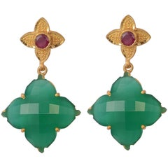 Emma Chapman Green Onyx Ruby Gold Plate Drop Earrings