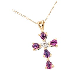 14 Karat Yellow Gold Reversible Pink and Blue Sapphire Cross Pendant Necklace