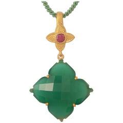 Emma Chapman Green Onyx Ruby Gold Plate Pendant