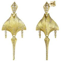 Venyx 18 Karat Gold Diamond Tiger Ray Earrings