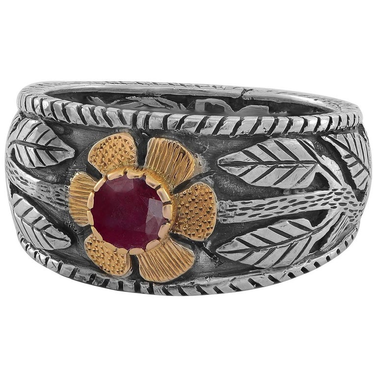 Emma Chapman Ruby Yellow Gold Sterling Silver Flower Ring