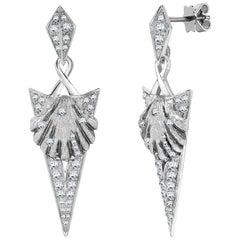 Venyx 18 Karat White Gold Diamond Black Rhodium Naida Dangle Drop Earrings