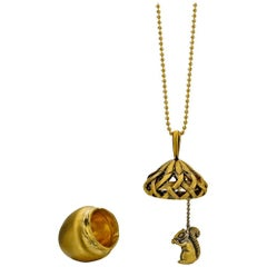 Wendy Brandes Mechanical Fall Oak Acorn and Squirrel Animal Gold Locket Necklace