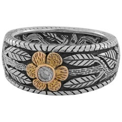 Emma Chapman Diamond Yellow Gold Sterling Silver Flower Ring