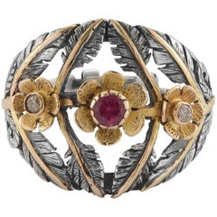 Emma Chapman Pink Tourmaline Diamond 18 Karat Yellow Gold  Silver Flower Ring