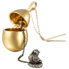 Wendy Brandes Mechanical Chicken and Egg Gold Locket Necklace