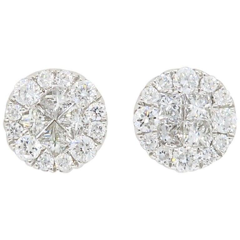 18 Karat White Gold Diamond Halo Earrings