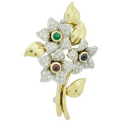 Multicolored Flower Diamond, Emerald, Sapphire and Ruby Brooch in 18 Karat