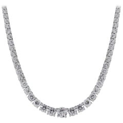 Round Brilliant Diamond Graduated Tennis Necklace