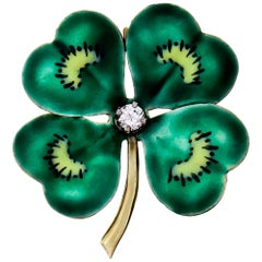 Diamond Enameled Four-Leaf Clover Pendant