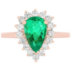 1.75 Carat Pear Shaped Emerald and White Diamond Ring