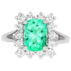 2.14 Carat Emerald Cut Emerald and White Diamond Ring
