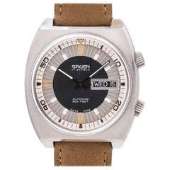 Gruen Stainless Steel Autowind Super Compressor Day-Date Self Winding Wristwatch