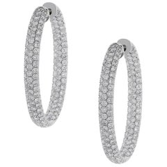 Round Diamond Pave Inside Out Hoop Earrings