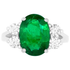 3.77 Carat Oval Emerald and Diamond Ring