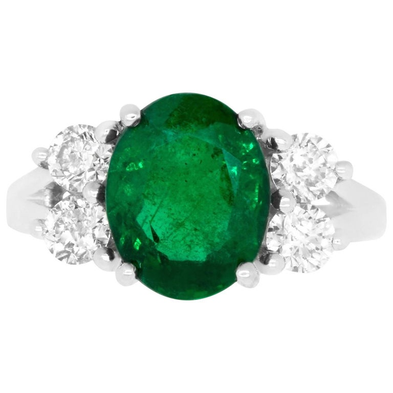 3.68 Carat Oval Emerald and Diamond Ring