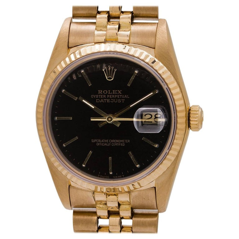 Rolex Yellow Gold Datejust Self Winding Wristwatch Ref 16018, circa 1986