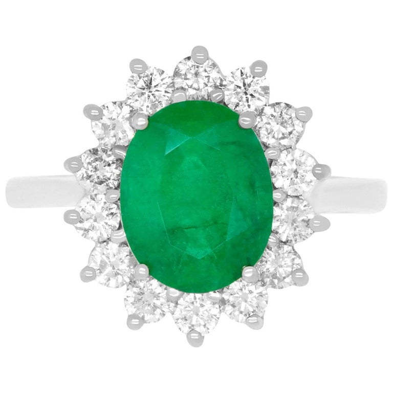 2.51 Carat Oval Emerald and Diamond Ring