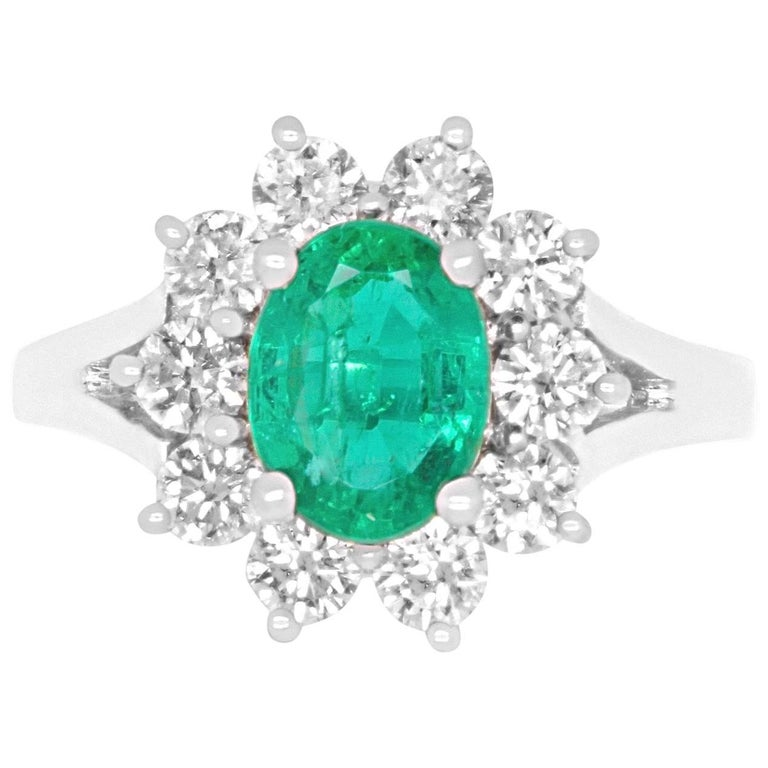 1.48 Carat Oval Emerald and Diamond Ring