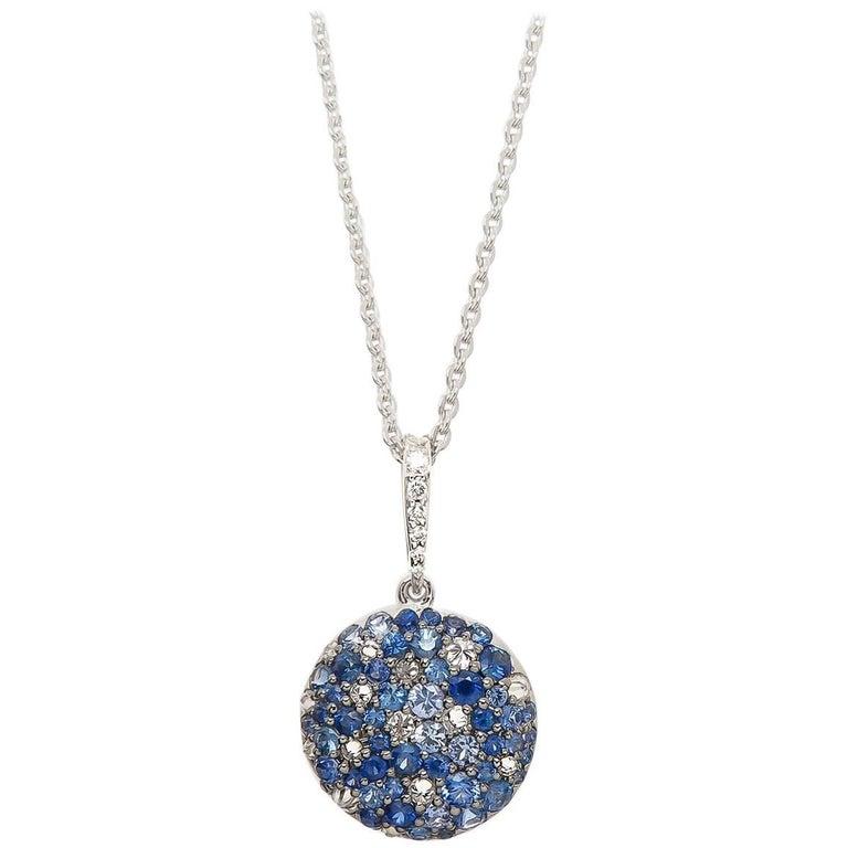 Multi-Color Sapphire Pendant 18 Karat White Gold