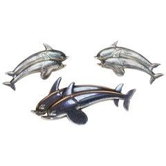 Georg Jensen Dolphins Brooch Earring Set Sterling Silver