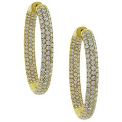 Round Brilliant Diamond Pave Inside Out Hoops