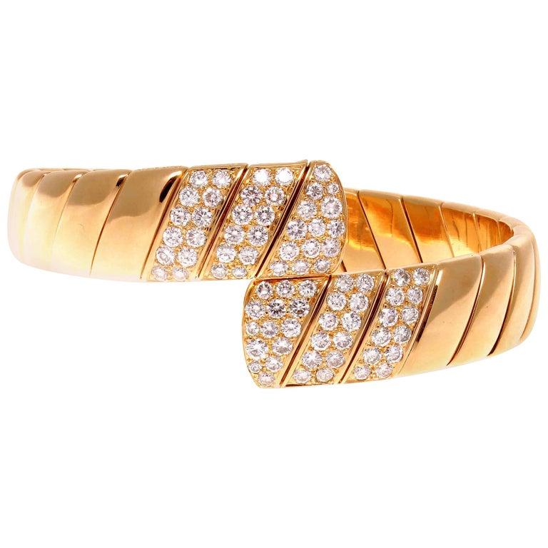 Cartier Diamond Gold Cuff Bracelet For Sale