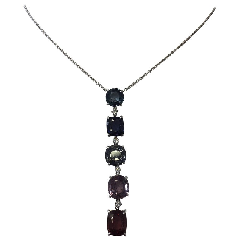 Multi-Color Spinel and Diamond 18 Karat White Told Pendant Necklace