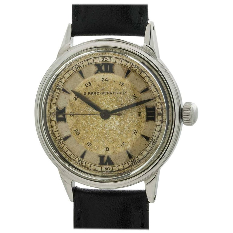 Girard Perregaux Stainless Steel Vintage Manual Wristwatch, circa 1950s