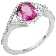 Platinum Pink Sapphire Diamond Cocktail Ring GIA Certificate No Indication Heat