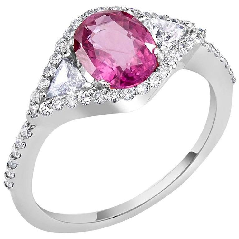 GIA Certificate ring 1.42 Carat Pink Sapphire (No Heat) Diamond Gold Ring