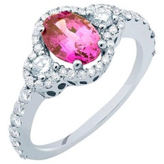 18k White Gold Pink Sapphire No Indication of Heat Diamond Ring GIA Certified