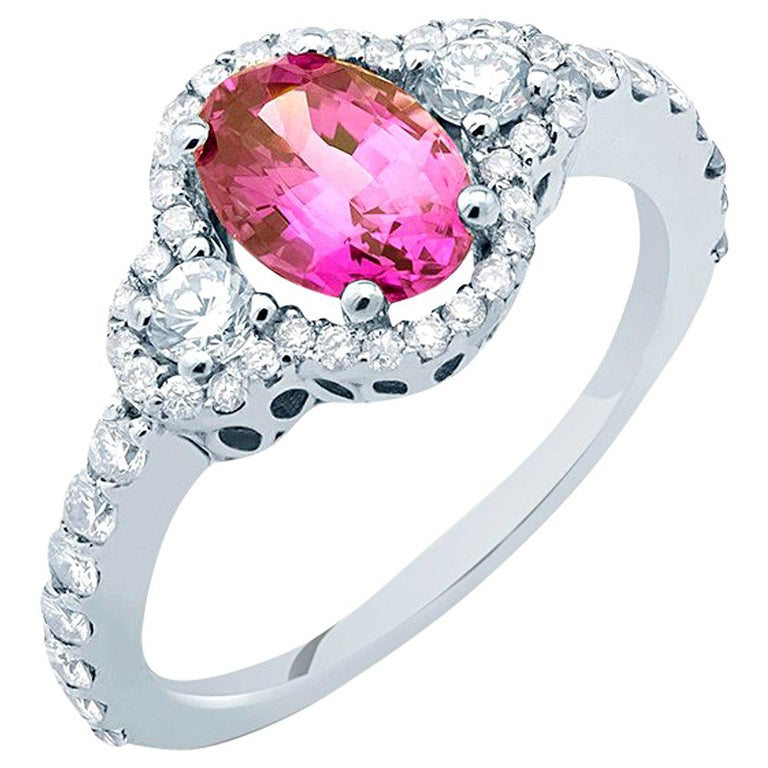 No Heat Ceylon Pink Sapphire Diamond Cocktail Ring GIA Certificate  For Sale