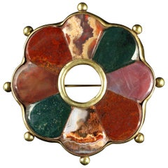 Antique Victorian Large Agate Scottish Brooch, circa 1880