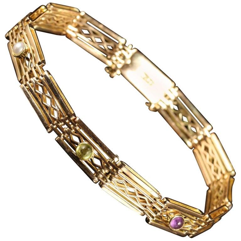 Antique Victorian Suffragette 9 Carat Gold Bracelet, circa 1900